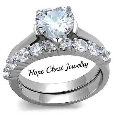 WOMEN'S STAINLESS STEEL 2 CARAT HEART CUT CUBIC ZIRCONIA WEDDING RING SET 5 - 10