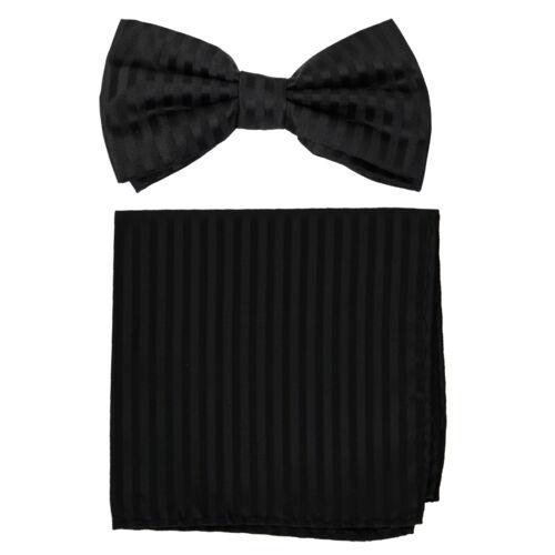 New formal Men/'s polyester pre-tied bow tie/_hankie tone on tone stripes black