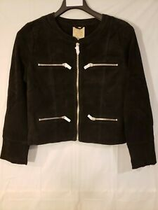 Women's Suede Leather Moto Cropped Jacket Black -Size LARGE- CHASER w/Zippers
