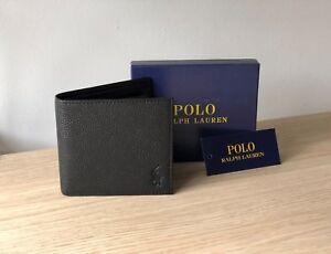 Ralph-Lauren-Polo-Men-039-s-Black-Leather-Wallet-Bi-Fold-w-Coin-Compartment