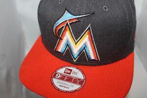 ce30add9 Miami Marlins New Era MLB Heather Graphite 9Fifty,snapback,Hat,Cap ...