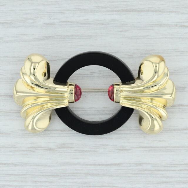 Lagos Onyx & Pink Tourmaline Brooch - 18k Yellow Gold 750 Ornate Statement