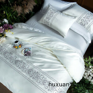 Peacock Embroidery White Silk Feel Bedding Set Bed Linens Satin Bed Sheet Set
