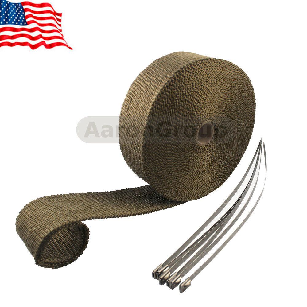"2/"" x 50FT Titanium High Temp Exhaust Magma Heat Wrap /& 5 Stainless Steel Ties"