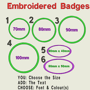 Circular-or-Oval-Embroidered-Felt-Personalised-Badge-Patch-Text-Name-Iron-Sew-On