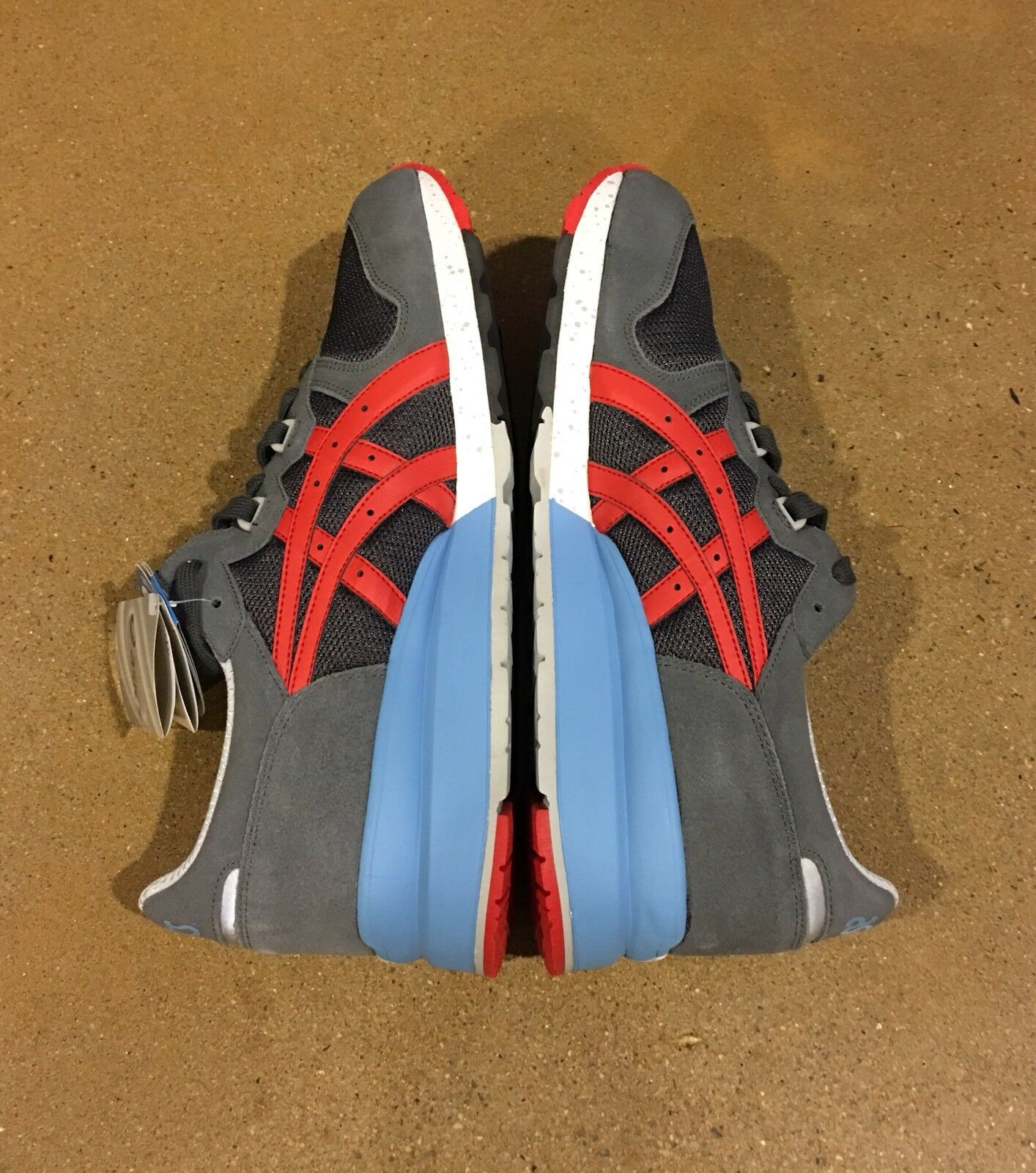 Asics Gel Epirus Size 12.5 US Men's Dark Grey Fiery Red Running Shoes Sneakers