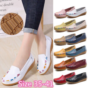 Womens-Ladies-Moccasins-Pumps-Flats-Loafers-Leather-Casual-Comfort-Boat-Shoes