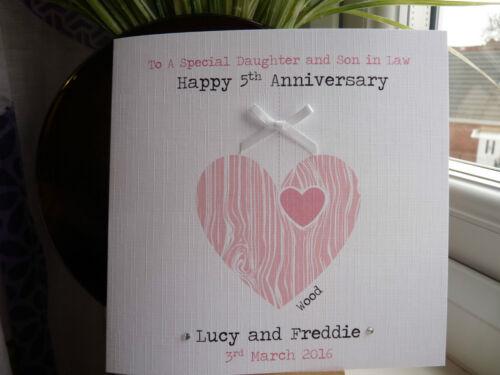 Handmade Personalised Wedding Anniversary  Card Wood 5th  6th Husband Wife