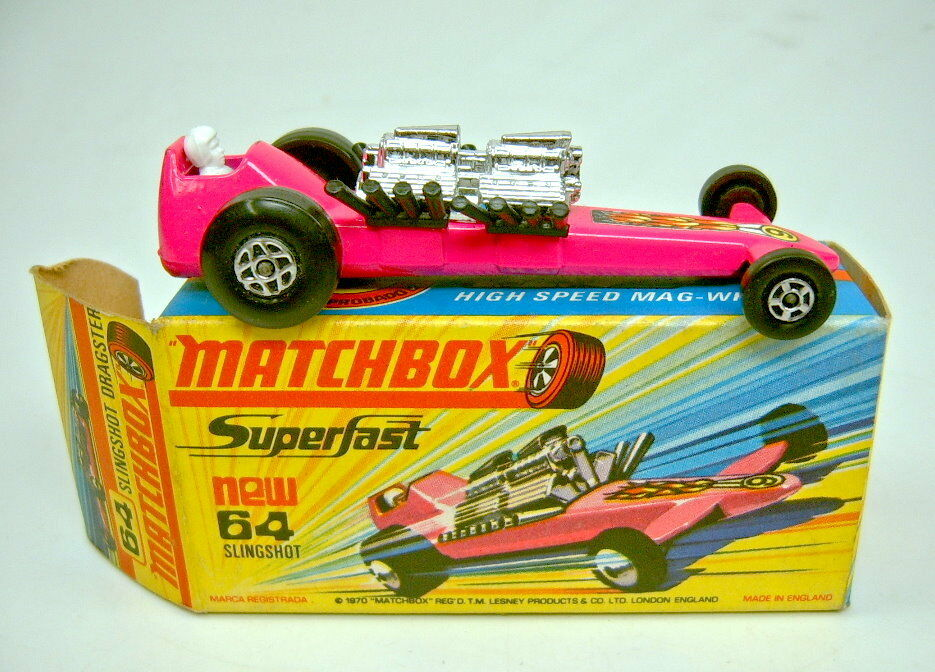 Matchbox Superfast No 64b Slingshot Dragster Pink Top In Box