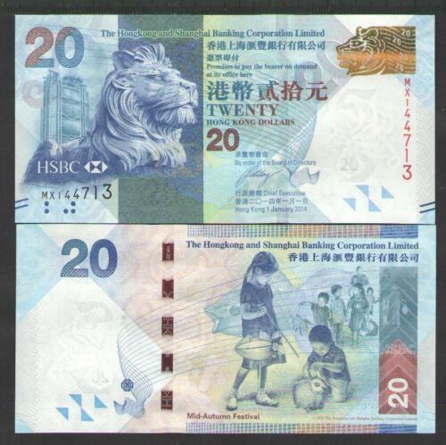 MX HONG  KONG  20  DOLLARS 2014  P 212  HSBC Uncirculated  Prefix
