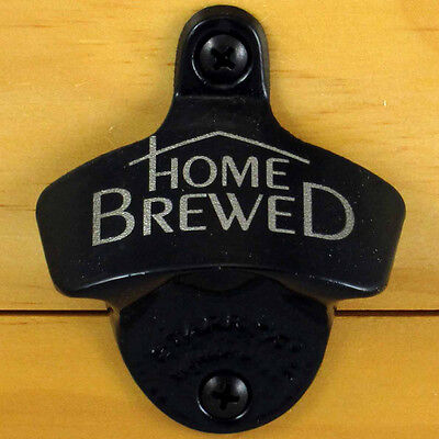 Black HOME BREWED Starr X Wall Mount Bottle Opener Powder Coated, Engraved, NEW!