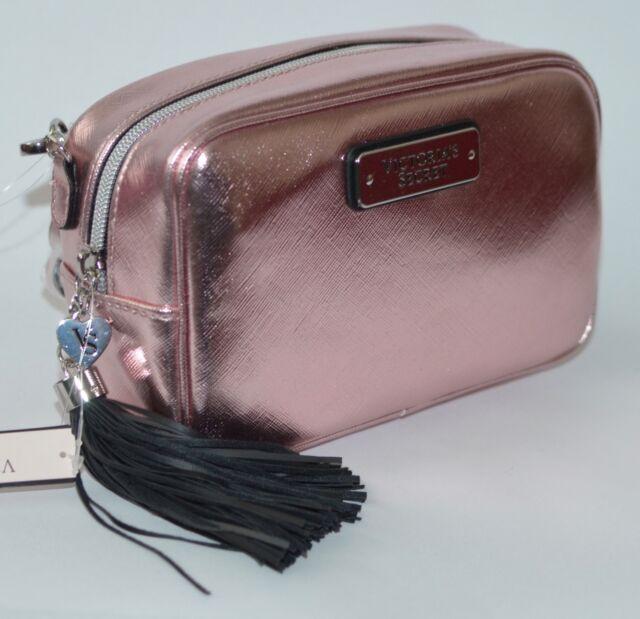 New Victoria S Secret Metallic Pink Crossbody Purse Handbag Beauty Shoulder Bag
