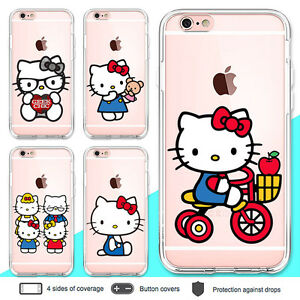 reputable site f6867 b9de3 Details about iPhone 8 7 6 Plus X Case Hello Kitty Clear Bumper Print Cover  for Apple SE 5 5s