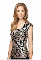 Alex Evening Black Gold Sequin Lined Top Size M $118