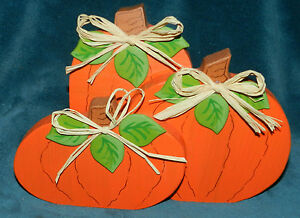 Details About Clearance Sale Adorable Hand Painted Wood Pumpkin Trio Fall Thanksgiving
