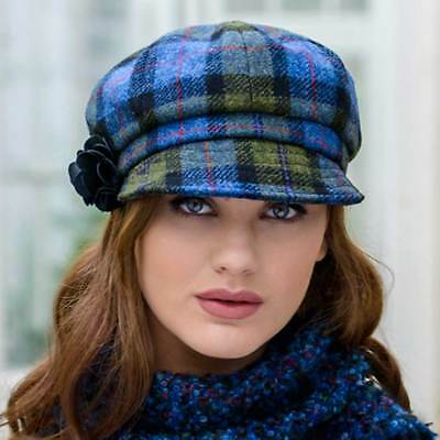 Green Plaid Ladies Newsboy Hat One size Made in Ireland