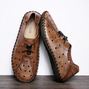 Men-039-s-Slip-On-Leather-Casual-Driving-Shoes-Loafers-Moccasins-Trainers-Fashion