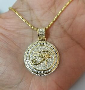Men-14k-Yellow-Gold-Finish-Diamond-Eye-Of-Horus-Pendant-Franco-Box-Link-Chain