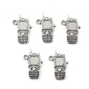 10pcs-Mobile-Phone-Beads-Tibetan-Silver-Charms-Pendant-DIY-Jewelry-20-10mm