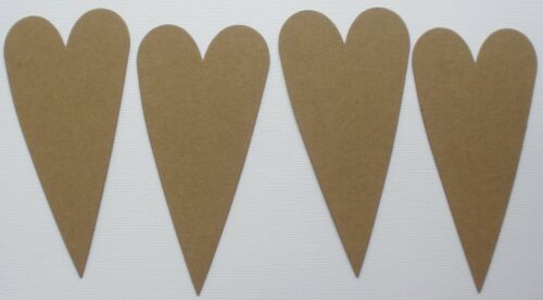 "{4}   4.5/"" PRIMITIVE HEART Chipboard Die Cuts Embellishments Valentine Bare"