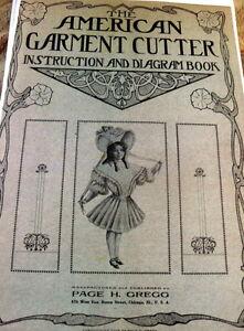 RARE-1900s-EDWARDIAN-AMERICAN-GARMENT-CUTTER-INSTRUCTION-amp-DIAGRAM-BOOK-1905