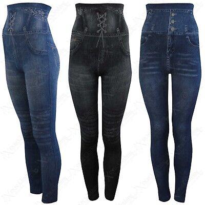 Genial New Ladies Denim Print Leggings Women High Waisted Jeans Look Stretch Pants