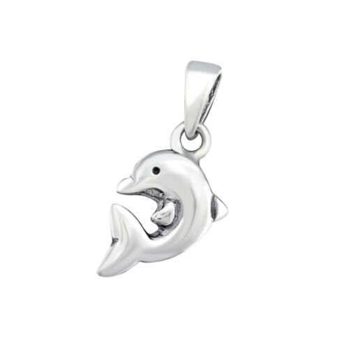 Chain Included 925 Sterling Silver Dolphin Pendant Necklace
