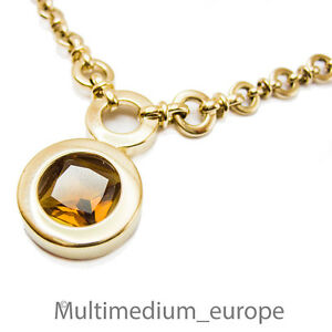 Pierre-Lang-Halskette-Collier-Anhaenger-massiv-vergoldet-signiert-Karabiner
