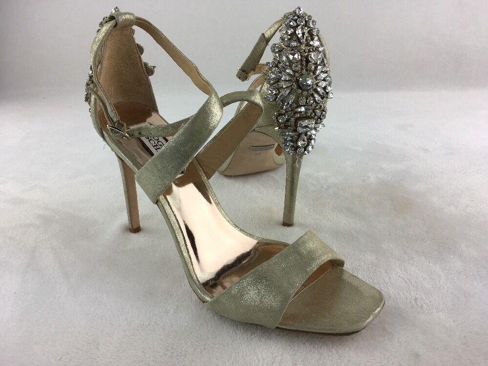 Badgley Mischka Cadence Platino Metallic Suede Heeled Sandale Größe 9.5M RH13525