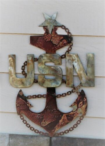 "US Navy Senior Chief Anchor Rustic Steel Wall Decor 19/"" tall"