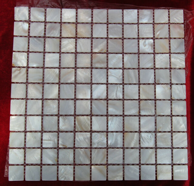 25 mm Square Natural Mother Of Pearl Mosaic Tiles River Bed Shell Mosaic  # 5824