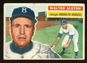 1956-Topps-8-Walter-Walt-Alston-Rookie-Manager-WB-VG-3-5-Crease-Dodgers
