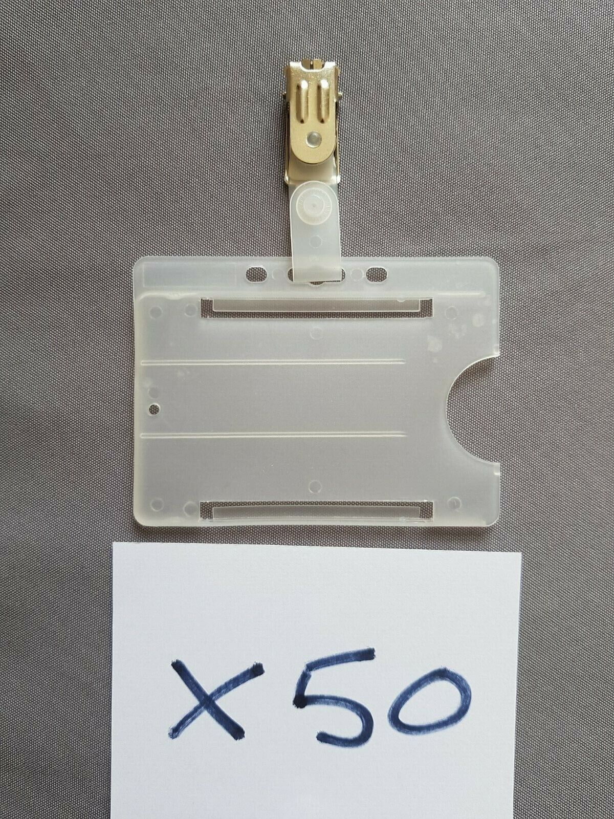 Batch of 50 ID Card Holders with clips Crocodile Clips Croc Clips Badge Holder