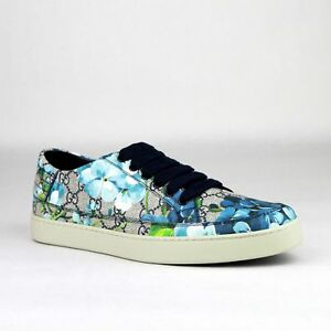 d4ebf5ca541 Gucci Supreme GG Canvas Bloom Print Blue Flower Sneaker Shoes 407343 ...