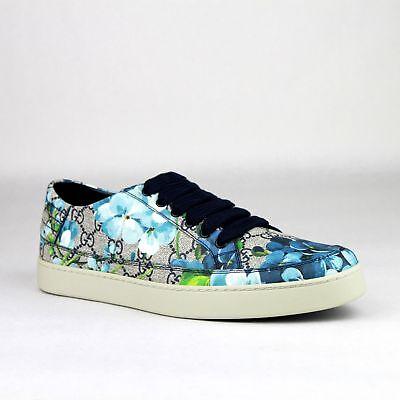 Gucci Supreme GG Canvas Bloom Print Blue Flower Sneaker Shoes 407343 8470