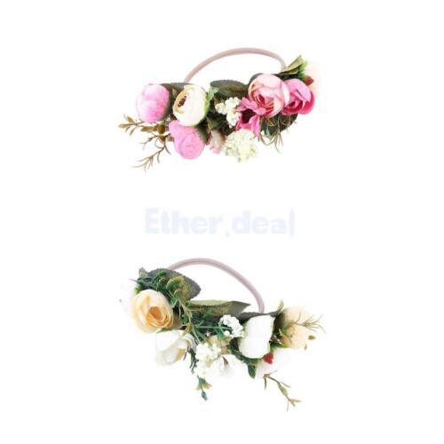2 Stück Baby Haarband Blumen Stirnbänder Blumen Haarkranz Blumenkrone