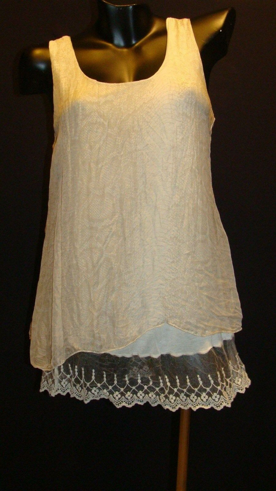 NWOT CARLA CONTI  100% SILK SLEEVELESS ITALIAN TUNICE TOP Größe SMALL