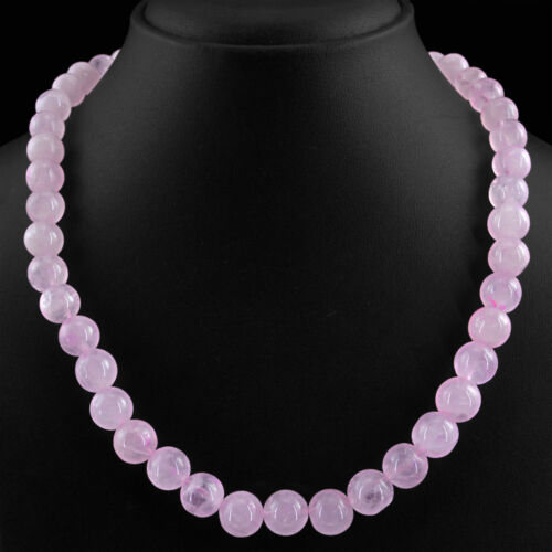 HIGH QUALTY 435.00 CTS NATURAL RICH PINK ROSE QUARTZ ROUND BEADS NECKLACE