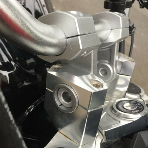 "7//8/"" 22mm Silver Aluminum Motorcycle Dirt Bike Handlebar Mount Clamp Riser Kit"