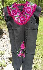 Maya Mexican Dress Embroidered Flowers Chiapas Puebla Black Pink Large PJ