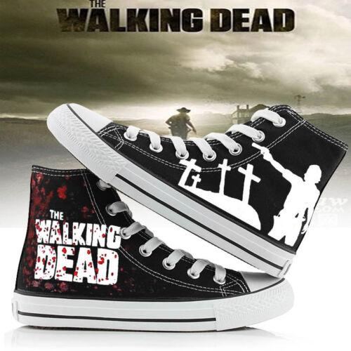 Unisex Canvas Shoes Casual Couple Black Cool Sneakers Popular The Walking Dead