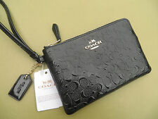 COACH Wristlet Leather Wallet Small coin Purse Bag Black New Signature 55206 NWT