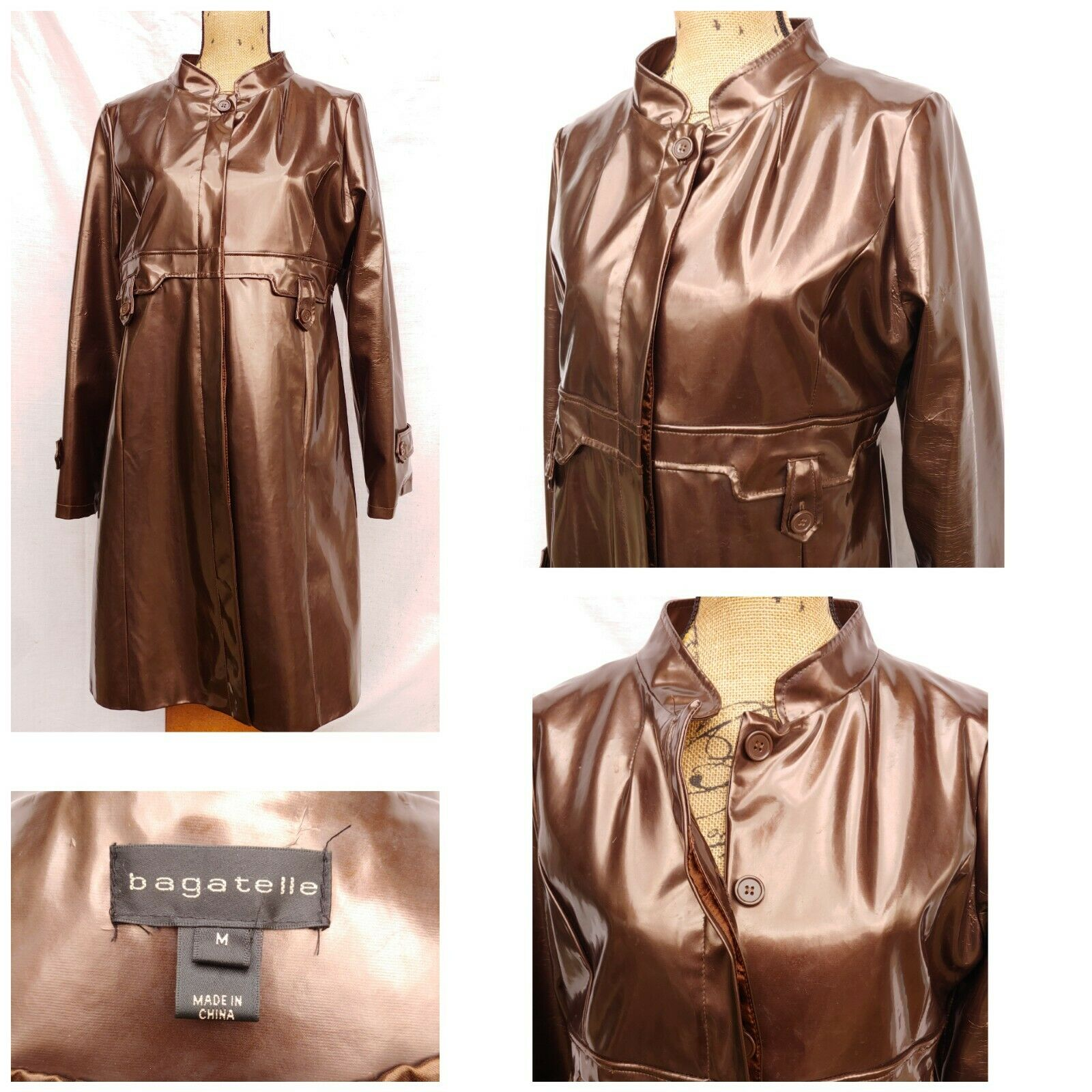 BAGATELLE WOMENS LONG COAT PATENT GLOSSY POLYURETHANE Med BRONZE BROWN BUTTON