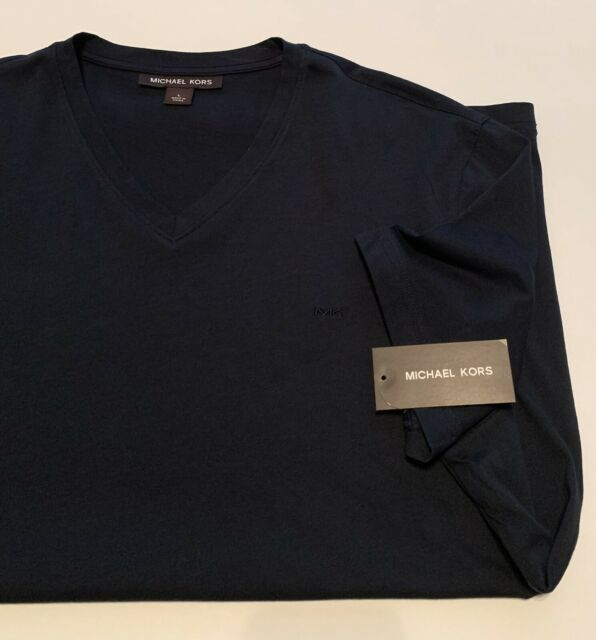Men's Michael Kors Large V Neck Short Sleeve Midnight Navy T Shirt NWT