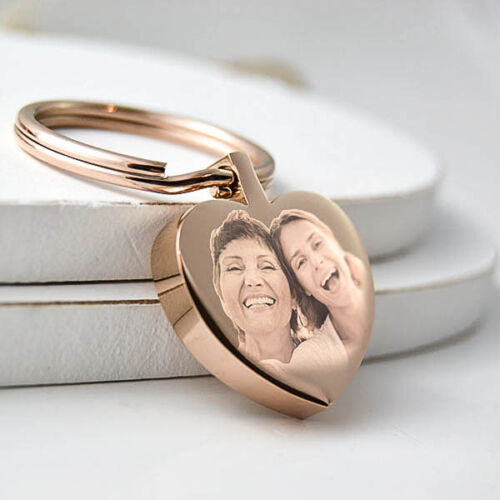 Personalised Metal Rose Gold Heart Keyring Keychain YOUR PHOTO /& TEXT ENGRAVED