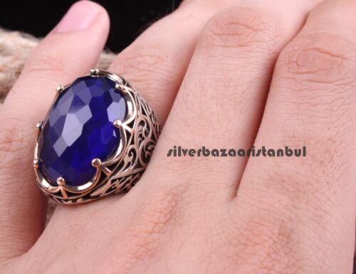 Turco plata esterlina 925 Azul Zafiro Piedra Anillo de Mans para hombre grande todos nosotros si̇ze