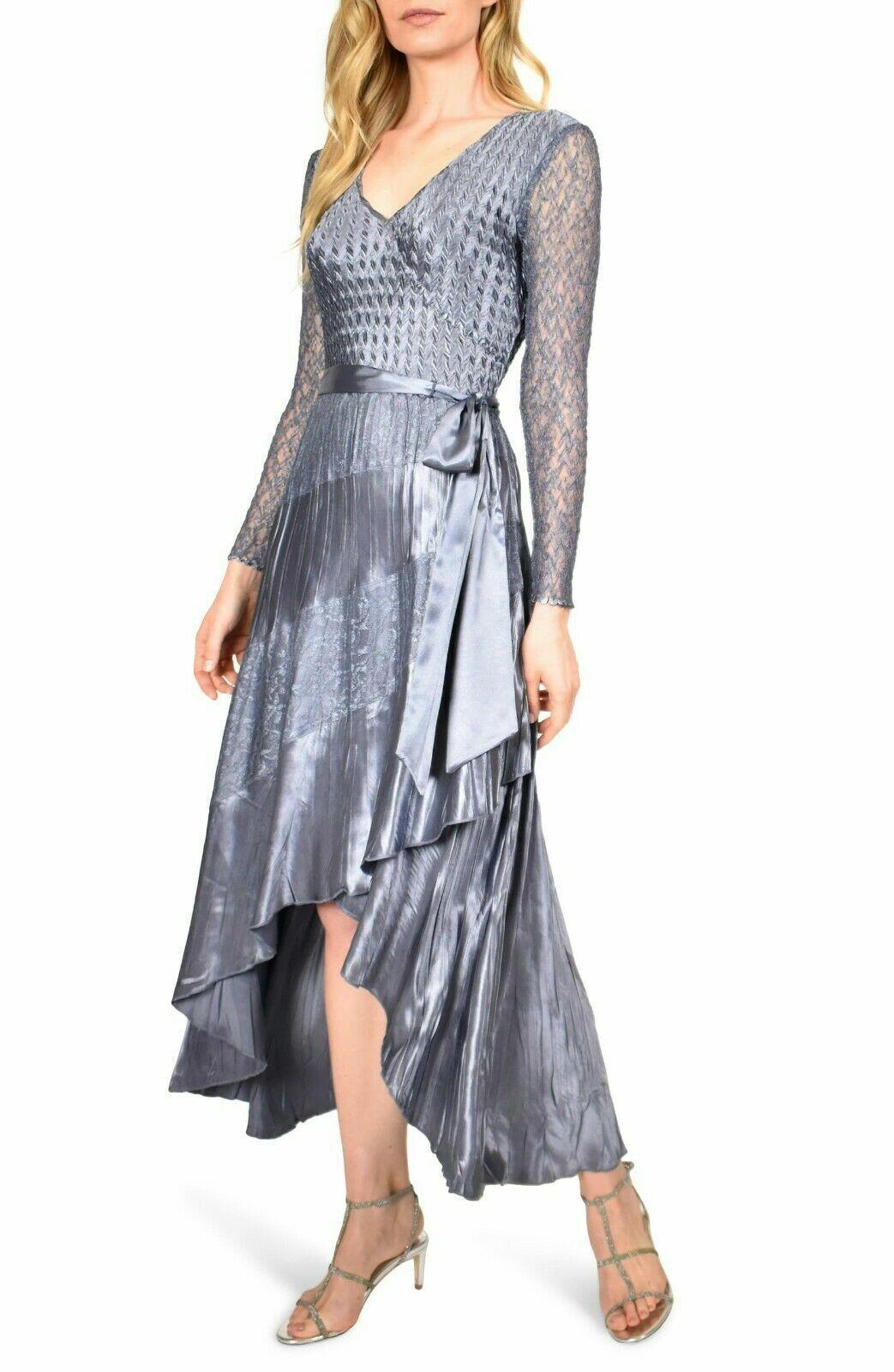 Komarov DRESS L NWT Purple Long Sleeve Lace Wrap High Low Charmeuse