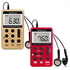Retekess V112 Pocket FM/AM Radio Digital Rechargeable LCD Display Walkman Sport