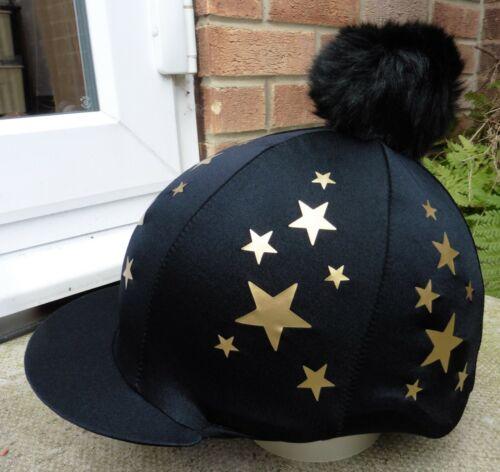 Equitazione Cappello seta Skull Cap coperchio nero-oro stelle extra large in finta pelliccia pon pon