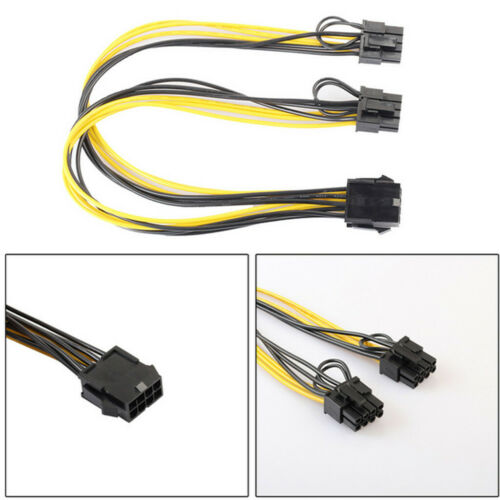 PCI-e 8pin to Dual8pin 2x 6+2pin Graphics Video Card Power Y Splitter Cable